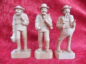 3 Belle Figurines en Bois, en Bois Sculpté, Tirol de Sud