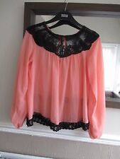 Gorgeous Size 14 peach-pink & black lace split sleeve floaty thin blouse/top