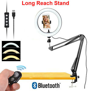 "10"" LED Ring Light + Scissors Desk Boom Arm Stand Phone Mount + Bluetooth Remote"