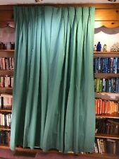 """1 pr new custom med. green silky weave cotton blend lined 89"""" pinch pleat drapes"""