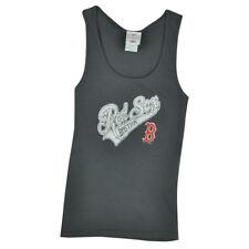 MLB Boston Red Sox Womens Ladies Gray Cotton Tank Top Tee Distressed Sport Fan