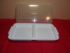 3 PIECE RONCO SHOWTIME ROTISSERIE HEATING TRAY WITH LID WHITE