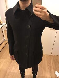 Armani Collezioni Black Wool Mens Coat - Large