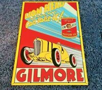 "VINTAGE LION HEAD GILMORE MOTOR OIL + RACE CAR 18"" PORCELAIN METAL GASOLINE SIGN"