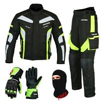 Rextek GREEN Motorcycle Cordura Textile Jacket-Trouser Leather Matching Gloves