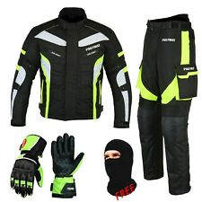 Motorcycle Motorbike Racing Suit Cordura Textile Jacket Trouser & Leather Gloves