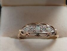 Q82 Ladies Ladies vintage 9ct gold Opal and Diamond ring size Q