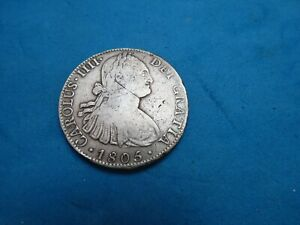 RARE/Scarce Silver SPANISH coin 8 Reales 1805   minted in MEXICO