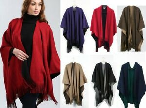 UK Women Ladies Side Split Tassel Winter Shawl/Cape//Poncho/Scarf/Wrap