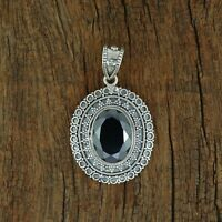Natural Hematite 925 Sterling Silver Gemstone Engagement Necklace Pendant FN277