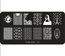 Stamping  Paris Fullcover Spitze Muster Vintage Mona Lisa Eifelturm TIAN-XIN-13