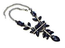 Bijou  collier fantaisie perles de verres noires et strass fermoir mousqueton