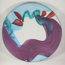 Large Vintage Handmade Art Pottery Dish Plate Platter Purple Blue Signed