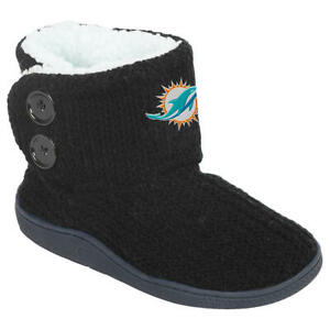 Miami Dolphins NFL Women's 2-Button Knit Slipper Boots, Size Large 9/10 - NWT
