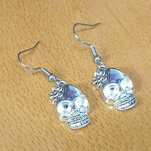 Hypoallergenic Surgical Steel Earrings with Tibetan Silver Skull Charms