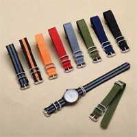 Uhrarmband Uhrenarmband Durchzugsband Nylon Perlon band Leder Militär Armba O5N7