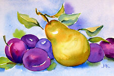 """Plums and Pear Watercolor Painting ORIGINAL Fruit stillife  4 """"x6 """" Kitchen"""