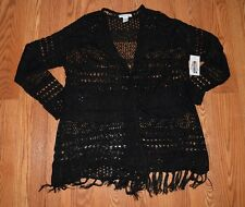 NWT Womens 99 JANE STREET Black Long Open Front Open Stitch Cardigan Sz Medium