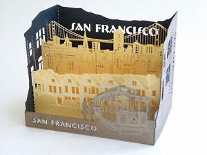 San Francisco Souvenir Laser Pop-Up Greeting Card - Cablecar, Golden Gate Bridge