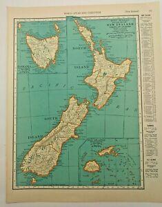1938 Vintage NEW ZEALAND Authentic Antique Atlas Map - Collier's World Atlas