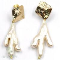 25-35mm White Baroque Pearl Earrings 18k ear stud Cultured Real Gift Mesmerizing