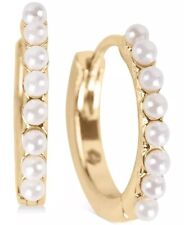 lucky brand gold tone earrings hoop small imitation pearl huggie snap closure