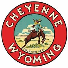 Cheyenne WY  Wyoming    Vintage Style  Travel Decal Sticker