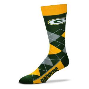 Green Bay Packers Football Gold & Green Argyle Lineup Deuce Crew Socks
