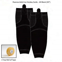 "Pro Mesh Adult Ice Hockey Socks - All Black (30"") + Free Clear Roll Tape"
