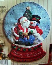 "Bucilla SANTA ""SNOW GLOBE"" Felt Christmas Wall Hanging Kit OOP VERY RARE Snowman"