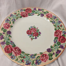 """FITZ & FLOYD BRITTANY CHOP PLATE ROUND PLATTER 12 3/8"""" PINK ROSE WITH TRELLIS"""