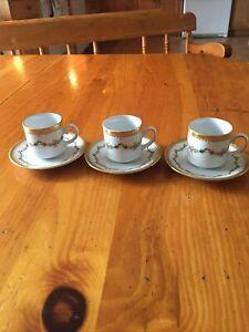Tirschenreuth Bavaria Germany Demitasse Cup Saucer Set Espresso Roses Gold 3sets