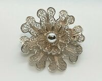 Vintage Portuguese Sterling Silver Filigree Small Open Flower Brooch