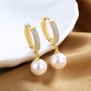 Micro Paved CZ Gold Hoop Huggie Men Women Dangling Pearl Earrings Hoops Gift I61