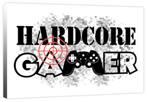 Hardcore Gamer Quote - Boys Computer Game Controller Canvas Art Print Picture