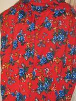 Tissu viscose et soie imprimé fond rouge  en 90 cm de large  au mètre