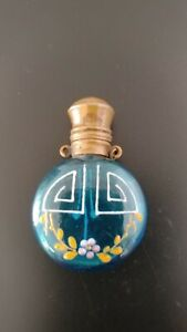 Antique Perfume Bottle Aqua Blue Glass Hand Enameled Design LOVELY