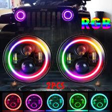 7'' Headlight LED RGB Halo Projector Angel DRL for Jeep Wrangler JK TJ LJ 2pcs