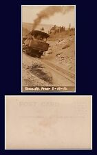 US COLORADO PIKES PEAK REAL PHOTO COG RAILROAD LOCOMOTIVE CLIMBING GRADE 1916