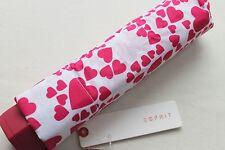 ESPRIT Regenschirm Taschenschirm weiß / pink Herzen Taschenschirm Damen