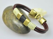 S365 Surfer Men's Vintage Brass Clasp Leather Bracelet Wristband Cuff BROWN