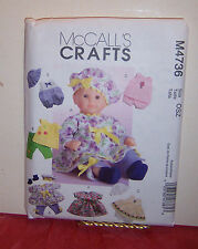 "Reduced!  McCall's 4736 Baby Doll Clothes 2 Sz (11-13"" & 14-16"") Pattern"