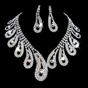 Fashion Women Bridal Wedding Party Prom Rhinestone Necklace Earrings Jewelry Set