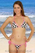 Checker Flag Sexy Tie Thong Bikini Swimsuit/Made in usa/Stripper/Pole Dancer/m-l