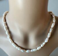 100% Genuine White real Freshwater 7-8mm irregulaPearl Collar Necklace Nice Lady
