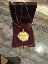IWC Solid Silver/gold Pocket Watch Solid Gold / Silver Fob & Solid Silver Chain