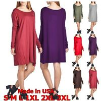 USA Women Piko Style Long Sleeve Dolman Mini Dress Tunic Top T-Shirt S M L Plus