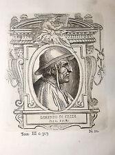 Ritratto LORENZO DI CREDI incisione in rame originale del 1771 Vasari Vite
