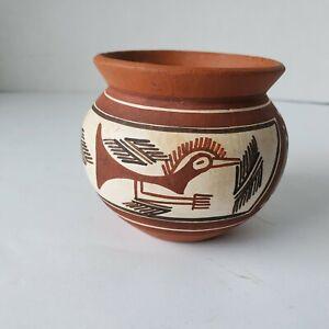 Quibor Lara Pottery - Venezuela Folk Art - Ceramic Vase - Road Runner - Signed