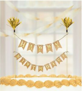 Gold Bunting Happy Birthday Cake Topper Party Celebrations Decoration